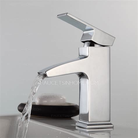 square bathroom faucets modern square shaped waterfall single handle bathroom faucet