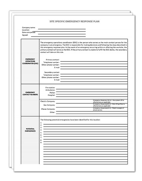 Site Specific Emergency Response Plan Template Safety2go Incident Response Plan Template 2