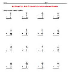 adding fractions with different denominators worksheets