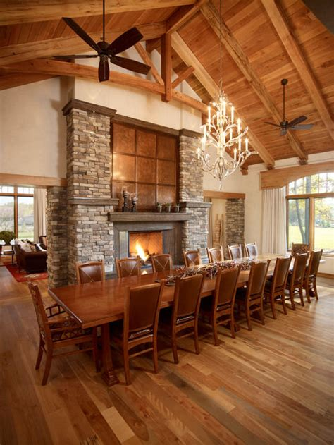 Large Dining Room With Fireplace Country Dining Room Design Ideas Renovations Photos
