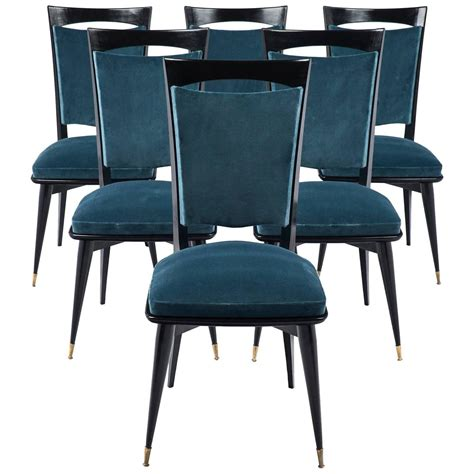teal dining room chairs mid century modern period set of six teal velvet dining