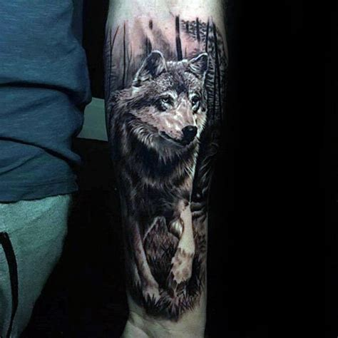 incredible realistic walking wolf mens inner forearm 3d