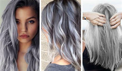 tintes de cabello color gris balayage gris en cabello oscuro