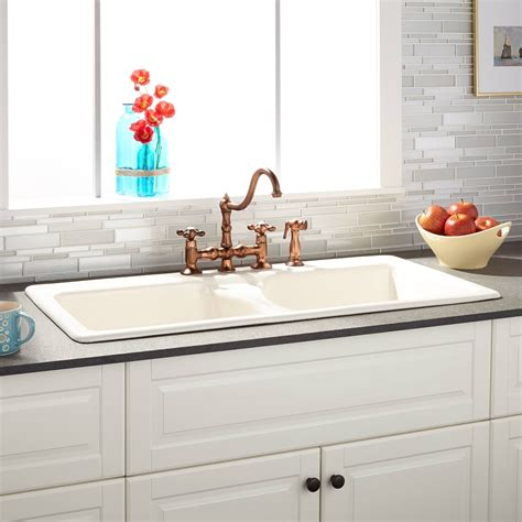 Drop In Sinks Kitchen 43 Quot Selkirk Bisque Bowl Cast Iron Drop In Kitchen Sink Kitchen Sinks Kitchen