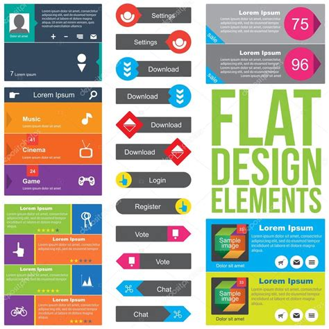 design elements used in a website flat web design elements stock vector 169 premiumdesigner