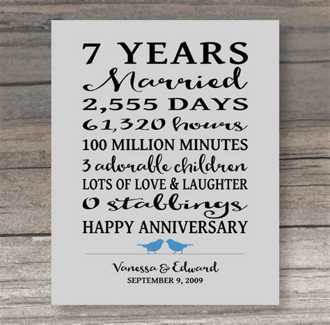 7 Year Wedding Anniversary Card by 7 Year Anniversary Gift Anniversary Gift For Spouse