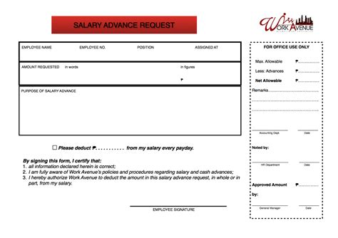advance request form template salary advance request welcome to work avenue