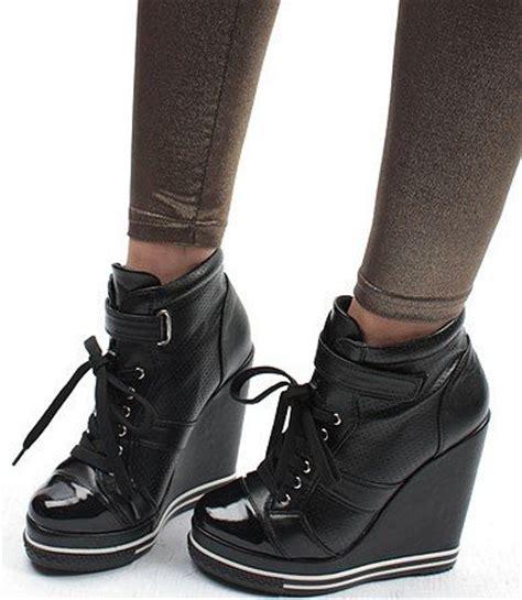 black high heel wedge sneakers new wedge heels sneakers buckles womens shoes high black