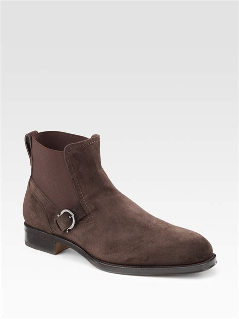 ferragamo fortuna suede boots in brown for chocolate