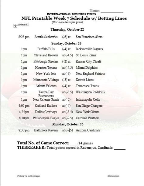 printable nfl schedule with betting line nfl office pool 2015 printable week 7 schedule with