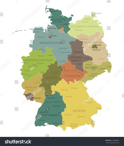 labeled map of germany germany highly detailed map all elements are separated in