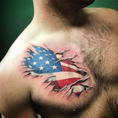 american flag chest tattoo american flag tear through chest veteran ink