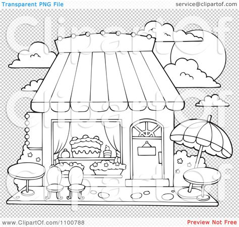 free coloring pages of shop drawing clipart outlined cake or candy shop with outdoor seating