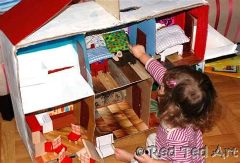 how to make a house for dolls how to make a cardboard dolls house red ted art s blog