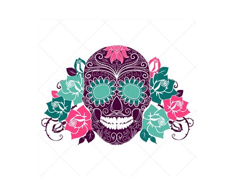 sugar skull sugar skull vectors and skull patterns sugar skull with roses and seamless skull