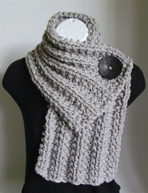 button scarf knitting pattern button cowl light grey with a black button my