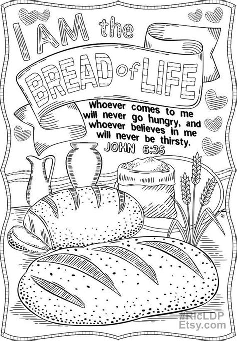 Set of 2 Bible Coloring Pages - John 15 5 and John 6 35