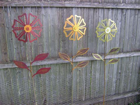 metal flower garden metal flower yard garden painted flower yard stake