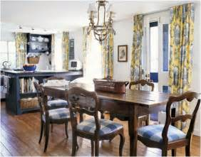 Yellow Check Curtains French Country Dining Room Design Ideas Room Design