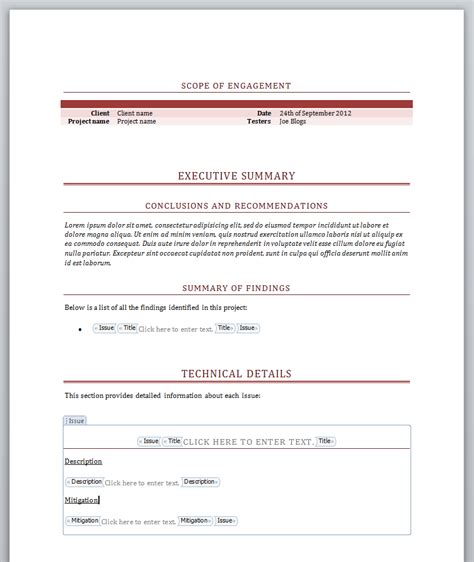 simple report template word screenshots dradis professional edition