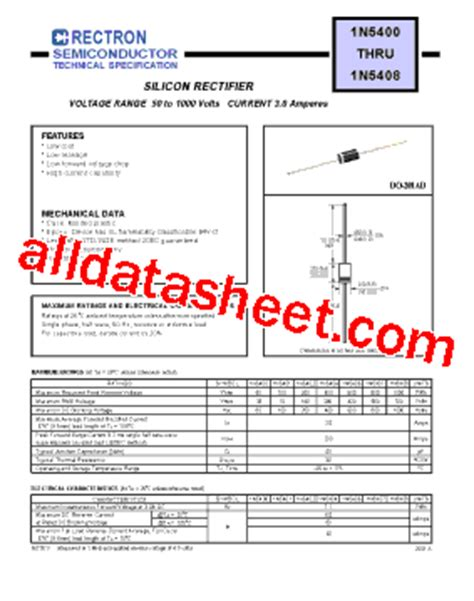 1n5401 diode datasheet 1n5401 データシート pdf rectron semiconductor