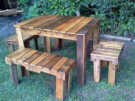 Pallet Table Ideas by Pallets Benches And Table Set For Farm Pallet Ideas