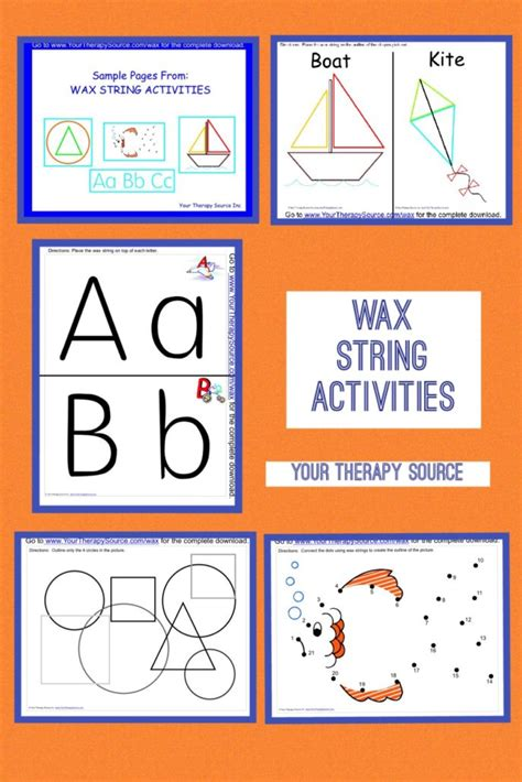 String Worksheets - wax string activities your therapy source