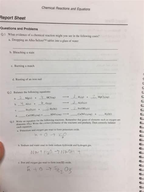 solved match each chemical reaction with the correct diag solved chemical reactions and equations report sheet ques