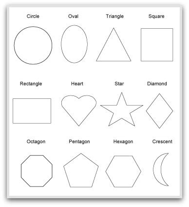 2d Shape Templates geometric shapes to print cut color and fold