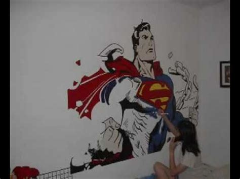 Wall Mural Painting Ideas superman mural on our wall youtube