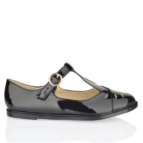 womens black patent flat shoes womens flat cut out t bar pumps
