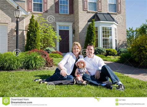 Family In Front Of House by Family In Front Of House Royalty Free Stock Images Image