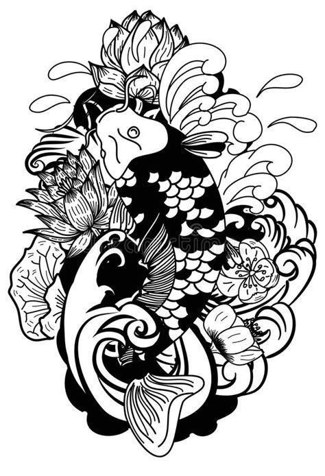 tattoo carpe koi noir et blanc black and white drawing koi carp japanese tattoo style