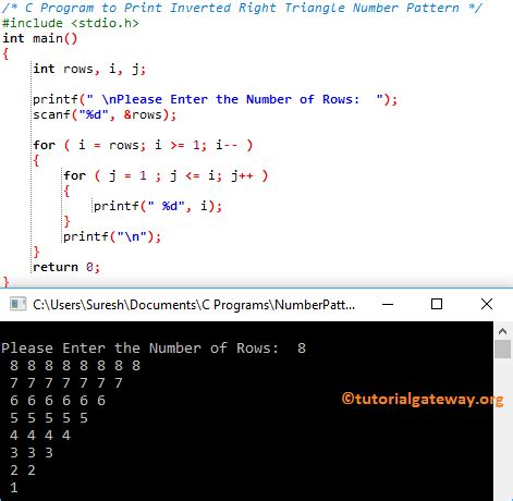 inverted triangle pattern in c c program to print inverted right triangle number pattern