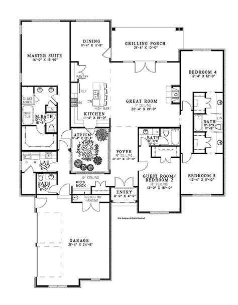 atrium ranch floor plans atrium home plans home plans pinterest house plans