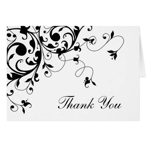 black and white damask thank you note cards zazzle