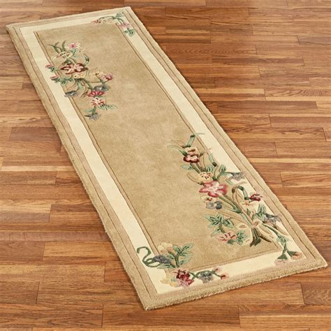 Gold Runner Rug Floral Bouquet Light Gold Rug Runner