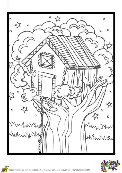 Coloriage Cahier De Vacances Cabane sur un arbre