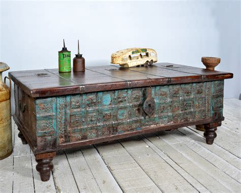 Reclaimed Trunk Coffee Table Antique Indian Intense Blue Antique Chest Coffee Table