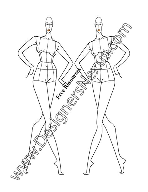 the gallery for gt fashion croquis front