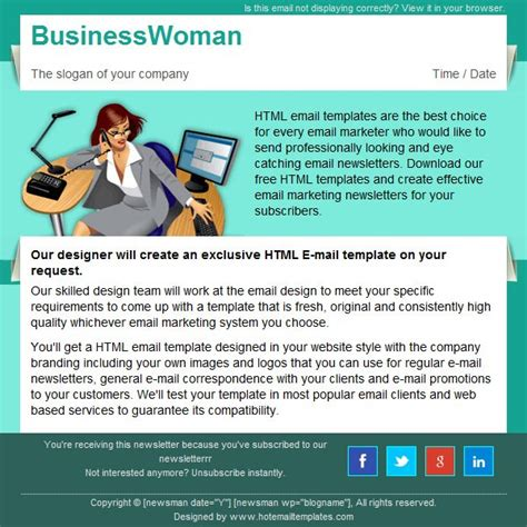 Business Woman Free Html E Mail Templates Free Email Templates For Business
