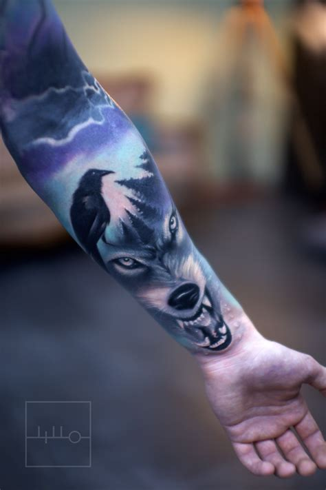 realistic wolf tattoo wolf realistic color forest rainer lillo