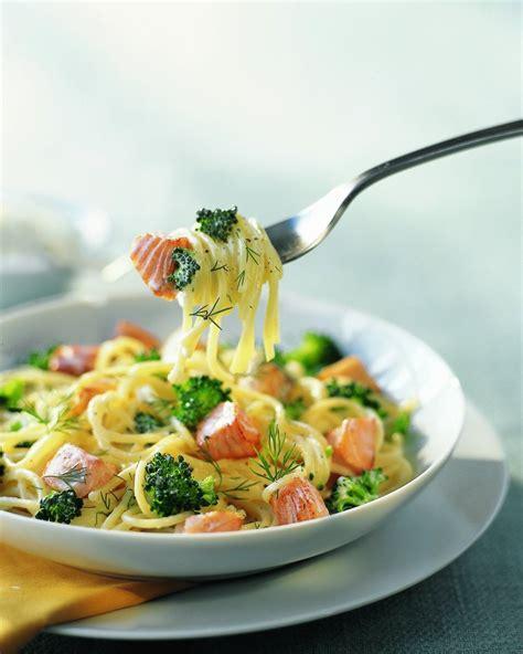 brocolis cuisine recette spaghettis au saumon frais et brocolis