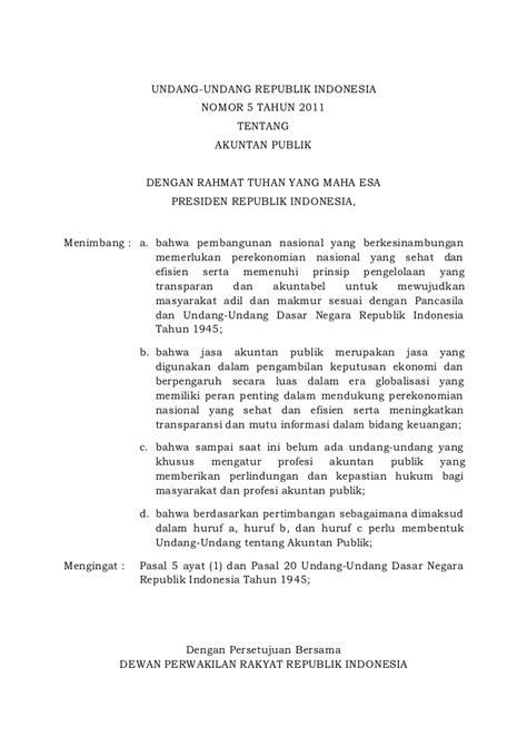 layout tentang rapat uu no 5 tahun 2011 tentang akuntan publik