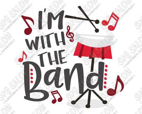 libro im with the band i m with the band drums svg cut file set for musician s shirts