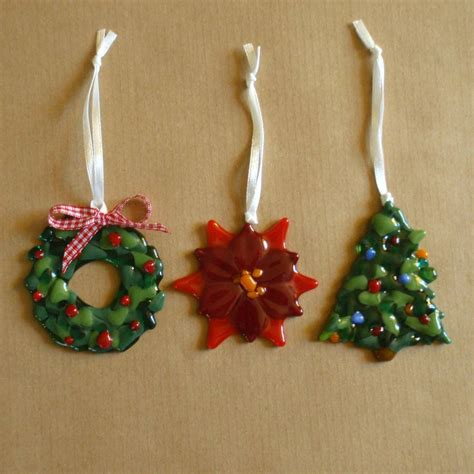 Handmade Glass Tree Decorations - handmade glass wreath poinsettia and tree