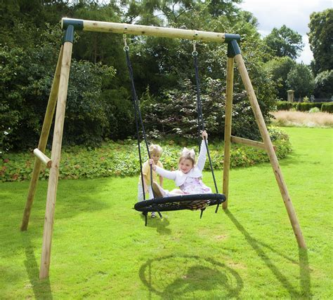 professional swing set rebo mercury wooden garden swing set spider net nest