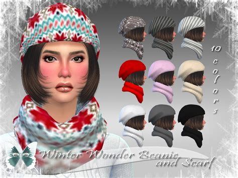 sims 4 beanie ms blue s winter wonder beanie and scarf