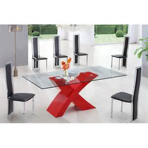 Red Dining Room Table X Glass Dining Table In High Gloss Red With 6 Dining Chairs