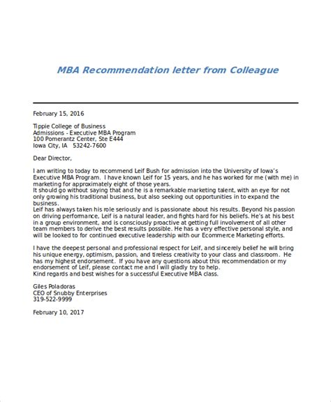 Recommendation Letter Sles For Colleague Sle Mba Recommendation Letter 6 Exles In Word Pdf